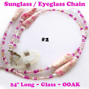 Eyeglass Sunglass Chain #2 Single Strand Pink 24""